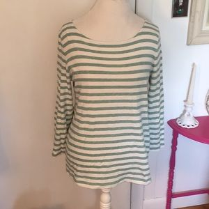 J. Crew Large Green and Cream Striped Shirt
